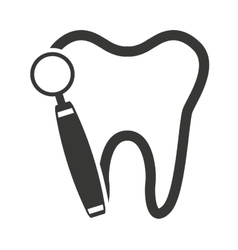 Tooth silhouette with dental care icon vector