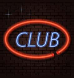 Neon signboard inscription club on a brick vector