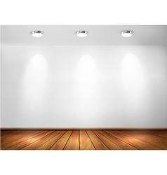 Wall with spotlights and wooden floor Showroom vector image