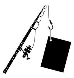Black fishing rod with label vector