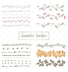 Collection of decorative seamless borders vector