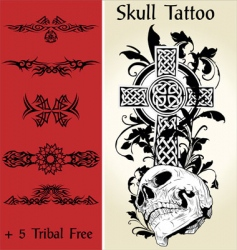 skull tattoo illustration vector image