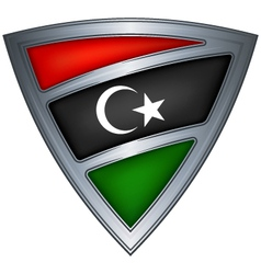 Steel shield with flag libya vector