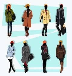 London fashion street model fall vector
