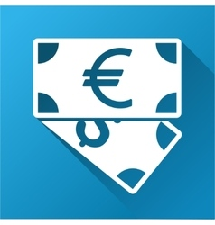 Euro and dollar banknotes gradient square icon vector