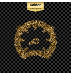 Gold glitter icon of speedometer isolated vector