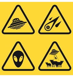 Warning ufo signs vector