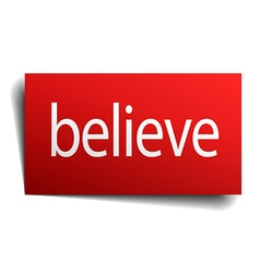 Believe red paper sign isolated on white vector