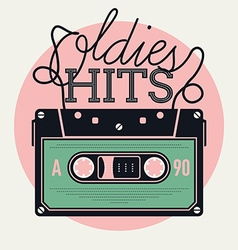 Oldie hits audio tape icon vector