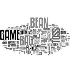 Bean bag toss game text word cloud concept vector