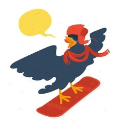 Bird goes snowboarding vector