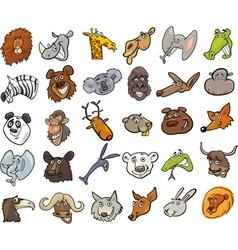 Cartoon wild animals heads huge set vector