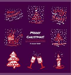 christmas hand drawn sketch icons on dark purple vector image vector image