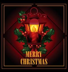 Christmas of antique street lantern vector image