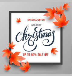 Christmas sale banner with maples vector