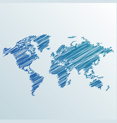 Creative world map made with scribble vector