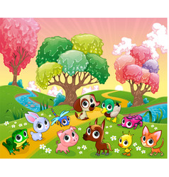 Funny animals in the magic wood vector
