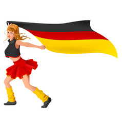German girl cheerleader fan hold flag soccer vector