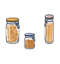 Glass jar with swing top lid set sketch vector