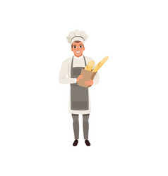 happy young baker character holding traditional vector image