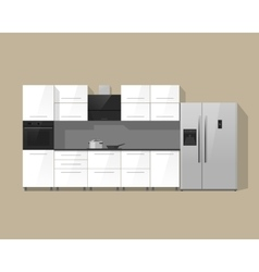Kitchen furniture cabinets interior vector