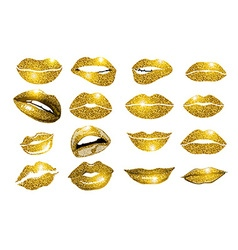 Lips gold set Design glitter element vector image vector image