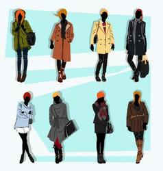 London fashion street model fall vector