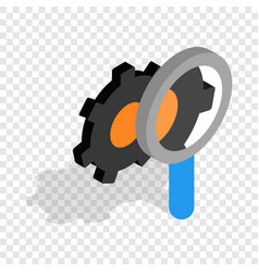 Magnifying glass and gears isometric icon vector