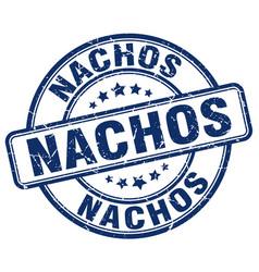 Nachos blue grunge round vintage rubber stamp vector
