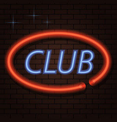 Neon signboard inscription club on a brick vector