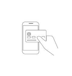Payment by credit card via smartphone vector image vector image