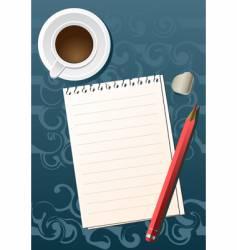 pencil sheet coffee vector image vector image