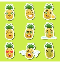 Pineapple cute emoji stickers set on green vector