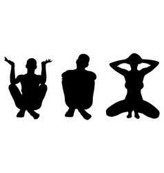 Silhouettes of women posing vector