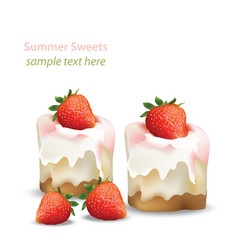 Summer sweet cheesecake with strawberry fruits vector