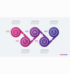 timeline infographic design with ellipses 5 steps vector image