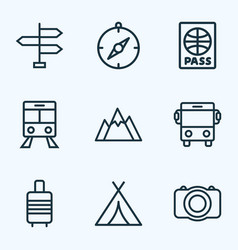Traveling outline icons set collection of auto vector