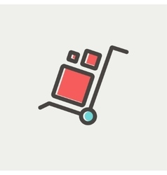 Trolley with boxes thin line icon vector image