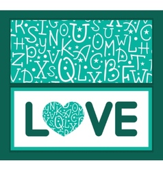 White on green alphabet letters love text frame vector