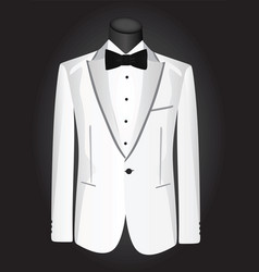 White suit with black bow vector