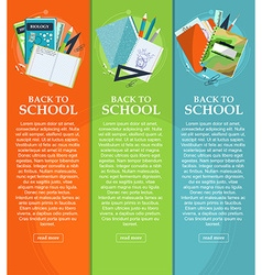 Set of banners back to school with stationery vector