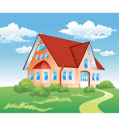 Private residence on hill vector