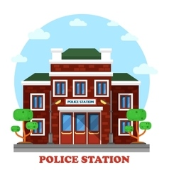 Outdoor exterior view on police station building vector