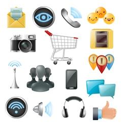 Social media symbols accessories icons collection vector