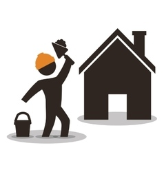 House construction worker wiyh spatule and cement vector