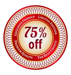 Label on 75 percent discount vector