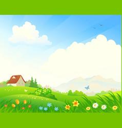 Spring bloom landscape vector