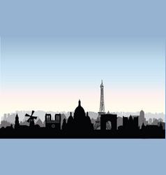 paris city buildings silhouette french urban vector image