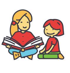 Kindergarten teacher woman reading book to child vector