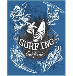 Surfing - set label and elements vector